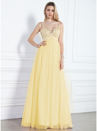 Empire Sweetheart Floor-Length Tulle Evening Dress With Beading Sequins