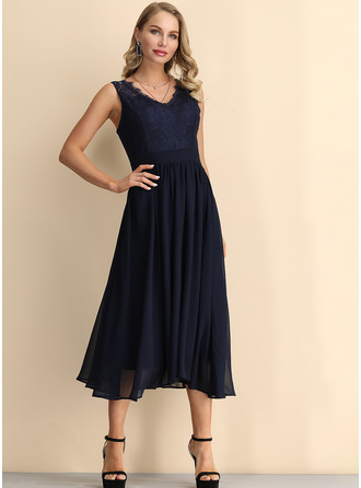 Lace/Chiffon With Lace Knee Length Dress