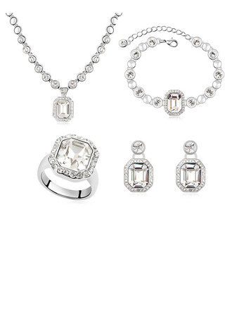Ladies' Alloy/Platinum Plated With Round Austrian Crystal Jewelry Sets For Bride/For Friends