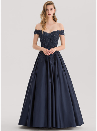Off-the-Shoulder Floor-Length Satin Prom Dresses With Beading Sequins