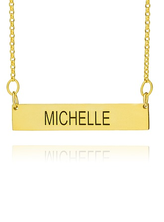 Custom 18k Gold Plated Silver Engraving/Engraved Bar Necklace Nameplate