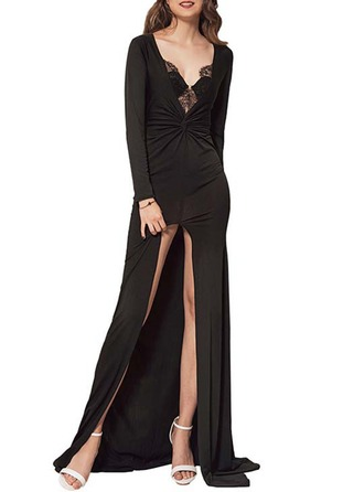 Polyester With Lace/Stitching Maxi Dress