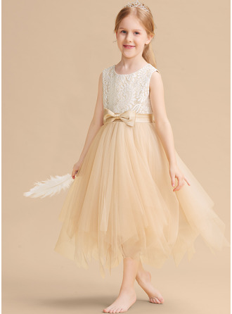 Tea-length Flower Girl Dress - Sleeveless Scalloped Neck With Lace Bow(s)