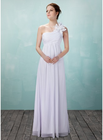 Empire One-Shoulder Floor-Length Chiffon Wedding Dress With Ruffle Flower(s)