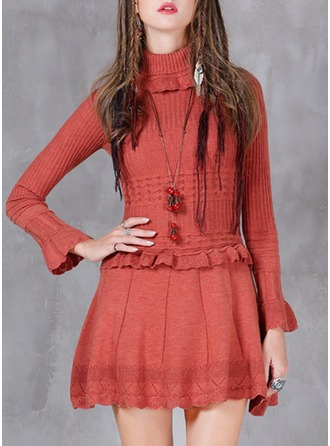 Knitting With Stitching/Hollow/Ruffles Above Knee Dress