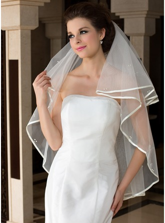 One-tier Fingertip Bridal Veils With Ribbon Edge