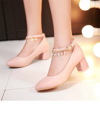 Women's Leatherette Chunky Heel Closed Toe