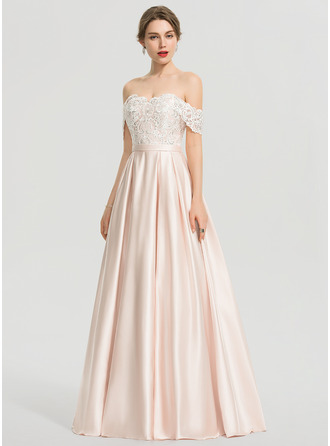 Off-the-Shoulder Floor-Length Satin Wedding Dress With Sequins