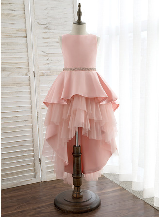 Asymmetrical Flower Girl Dress - Satin Tulle Sleeveless Scoop Neck