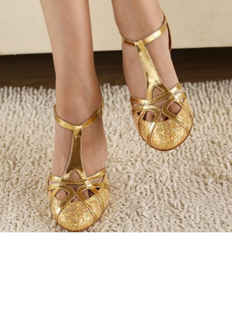 Women's Sparkling Glitter Heels Pumps Latin Ballroom Party With Ankle Strap Dance Shoes