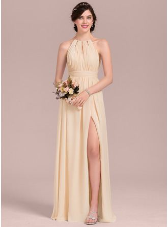 Scoop Neck Floor-Length Chiffon Bridesmaid Dress With Ruffle Bow(s) Split Front