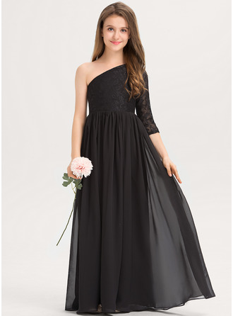 One-Shoulder Floor-Length Chiffon Lace Junior Bridesmaid Dress