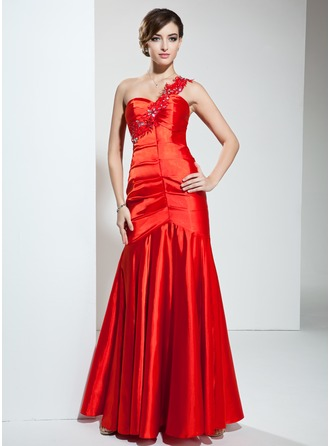 Trumpet/Mermaid One-Shoulder Floor-Length Charmeuse Evening Dress With Ruffle Beading Appliques Lace