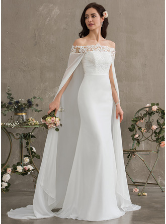 Sheath/Column Off-the-Shoulder Court Train Chiffon Wedding Dress