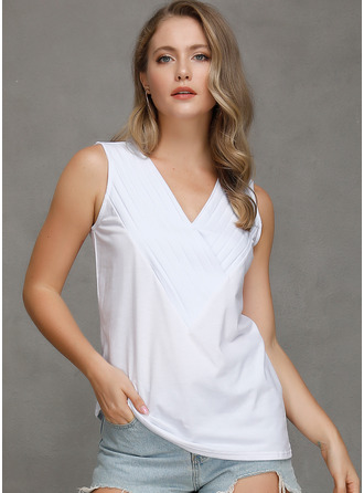 Sleeveless Cotton Blends V Neck Tank üstleri Bluzlar