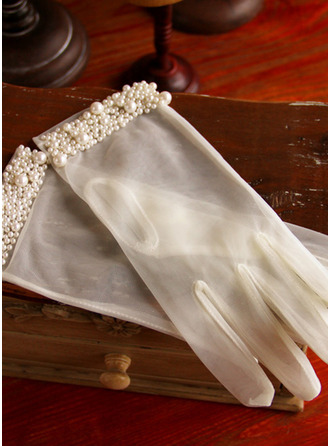 Polyester Wrist Length Bridal Gloves With Imitation Pearls