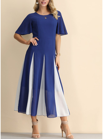 Chiffon With Stitching/Color-block Midi Dress