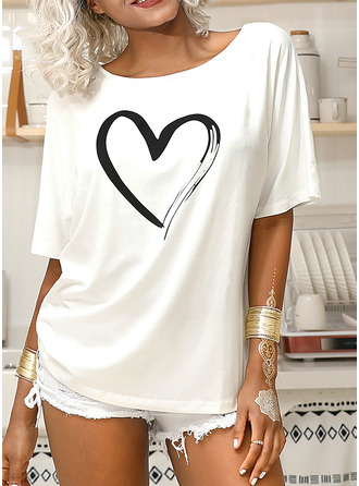 1/2 Sleeves Polyester One Shoulder T-shirt Blouses