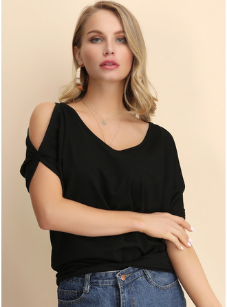 1/2 Sleeves Cotton Cold Shoulder Plést ()