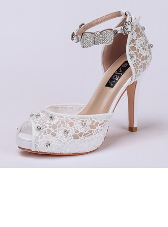 Femmes Dentelle Talon stiletto À bout ouvert Sandales Beach Wedding Shoes avec Strass