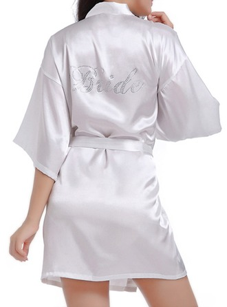 Bride Satin With Short Satin Robes Rhinestone Robes