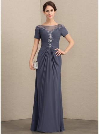 Scoop Neck Floor-Length Chiffon Mother of the Bride Dress With Lace Beading Sequins