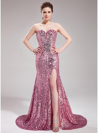 Trumpet/Mermaid Sweetheart Court Train Sequined Prom Dress With Beading Split Front