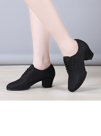 Women's Cloth Heels Latin Modern Belly Practice With Lace-up Dance Shoes
