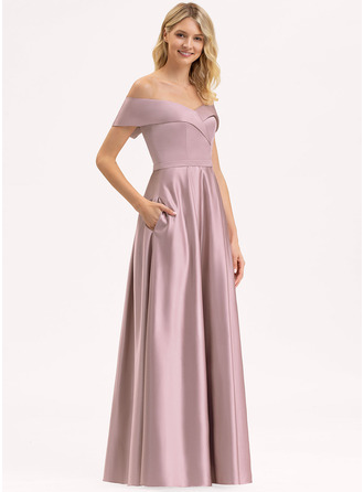 Off-the-Shoulder Floor-Length Satin Bridesmaid Dress With Pockets