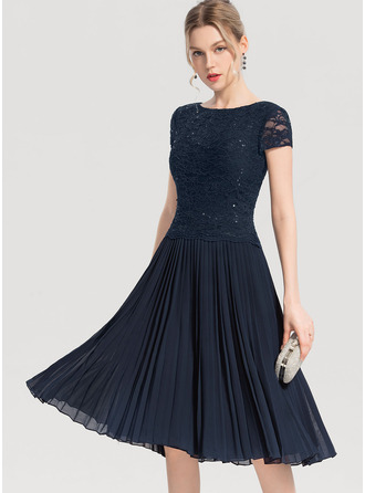 Scoop Neck Knee-Length Chiffon Cocktail Dress With Sequins Pleated