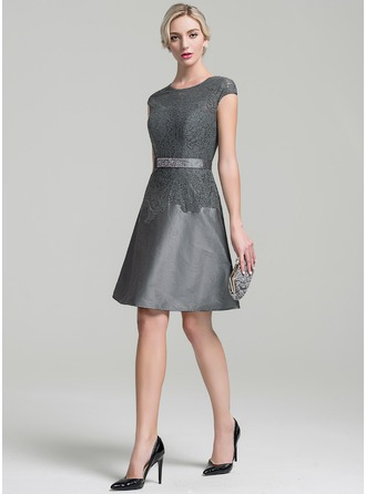 A-Line/Princess Scoop Neck Knee-Length Taffeta Mother of the Bride Dress With Beading Sequins