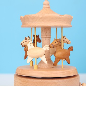 Contemporary Wood Horse Music Box