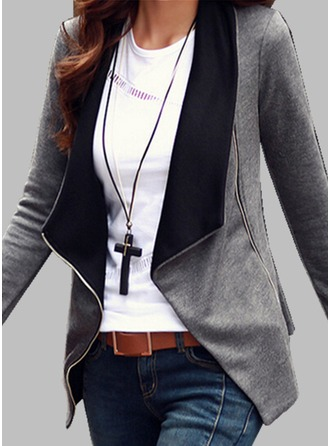 Cotton Blends Long Sleeves Plain Blazer ()