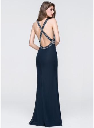 Trumpet/Mermaid Scoop Neck Floor-Length Chiffon Prom Dresses With Beading Sequins