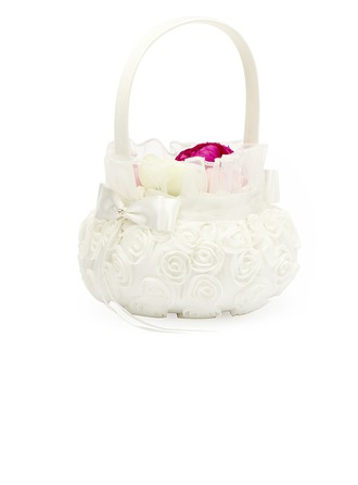 Lovely Flower Basket in Satin With White Organza Rose