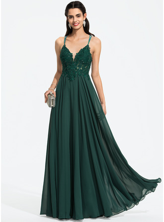 V-neck Floor-Length Chiffon Prom Dresses With Beading Sequins