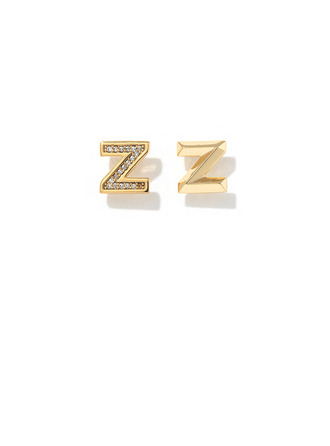 Personalized Ladies' Copper/Cubic Zirconia With Round Cubic Zirconia Earrings For Her