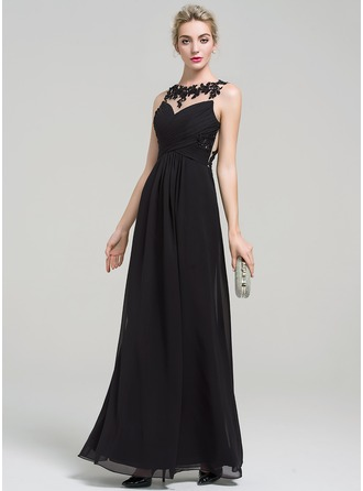 A-Line/Princess Scoop Neck Floor-Length Chiffon Evening Dress With Lace Beading Sequins