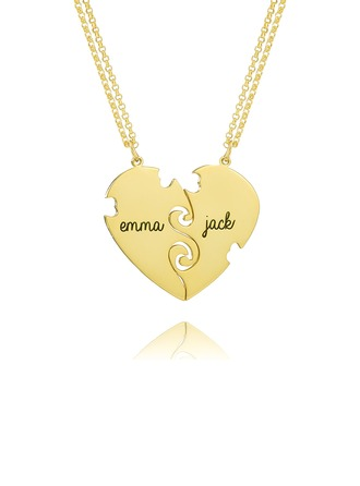 Custom 18k Gold Plated Silver Engraving/Engraved Two Heart Necklace