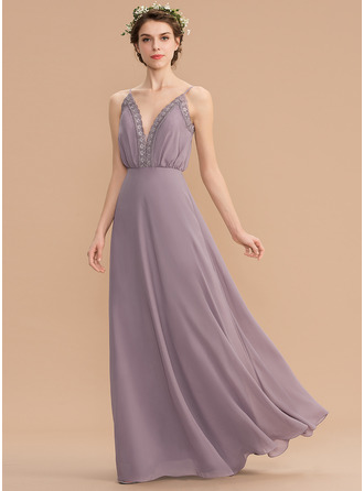 V-neck Floor-Length Chiffon Bridesmaid Dress With Lace