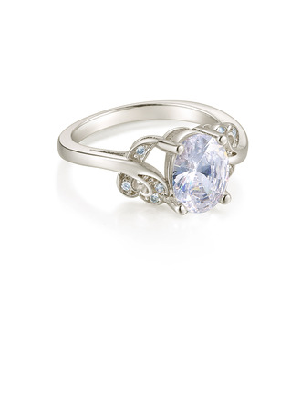 Sterling Silver Cubic Zirconia Halo Vintage Oval Cut Engagement Rings Promise Rings -