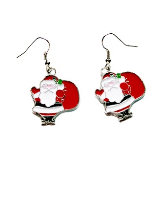 Christmas Santa Alloy/Coloured Glaze Ladies' Earrings