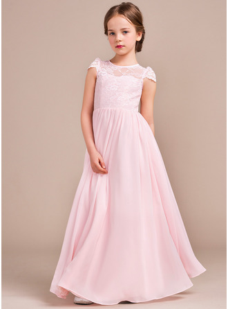 Floor-length Flower Girl Dress - Chiffon Lace Sleeveless Scoop Neck