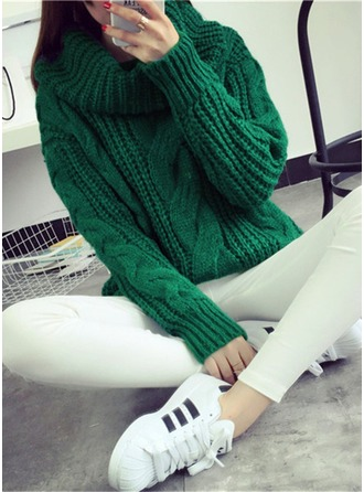 Plain Cotton Blends Turtleneck Sweater Sweaters