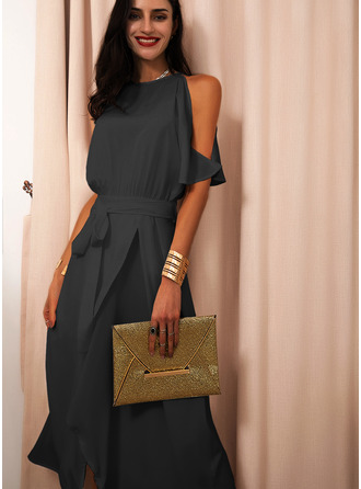 Solid A-line Round Neck Short Sleeves Cold Shoulder Sleeve Midi Little Black Party Skater Dresses