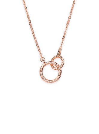18k Rose Gold Plated Silver Circle Pendant Necklace