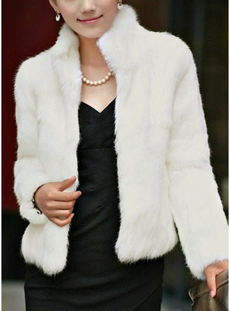 Faux Fur Long Sleeves Plain Shearling Coats ()