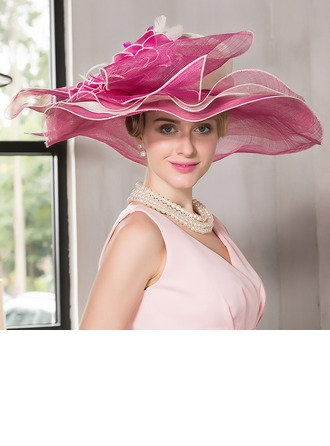 Dames Beau Fil net avec Feather Chapeau melon / Chapeau cloche