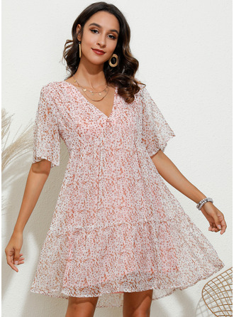 Print Shift V-Neck Short Sleeves Midi Casual Vacation Dresses