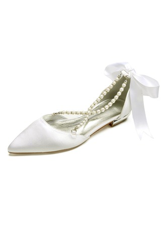 Women's Satin Flat Heel Closed Toe Flats Sandals With Pearl
